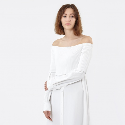 Xtra L/S Off The Shoulder Dress - White