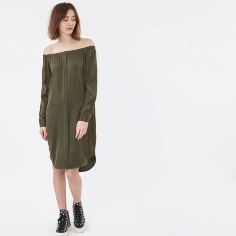 L/S Off Shoulder Dress - Military