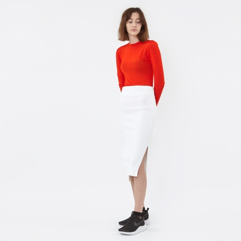 Midi Skirt With Side - White