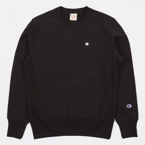 Reverse Weave Crew Neck Sweatshirt - Black