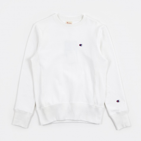 Reverse Weave Crew Neck Sweat - White