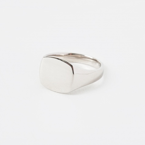 Mini Cushion Signet Ring - Silver