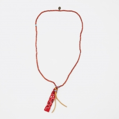 Mikia Beaded Necklace Suede/Bandanaa - Coral