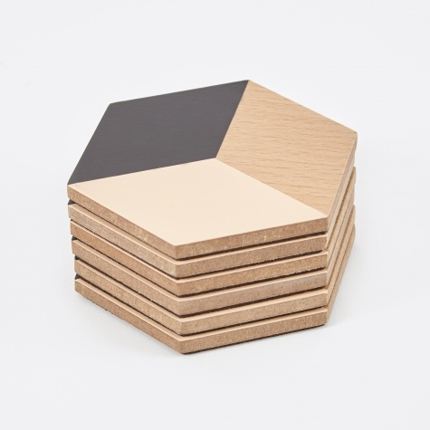 Table Tiles Coasters - Black / Beige