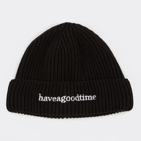 Side Logo Watch Beanie - Black