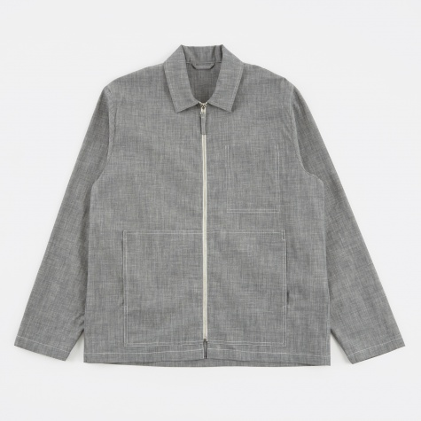 Tres Bien Zip Blouson Shirt - Grey Rinse Denim