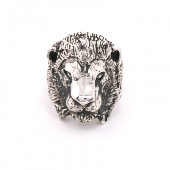 Dog State Silver Lion Ring (Image 1)