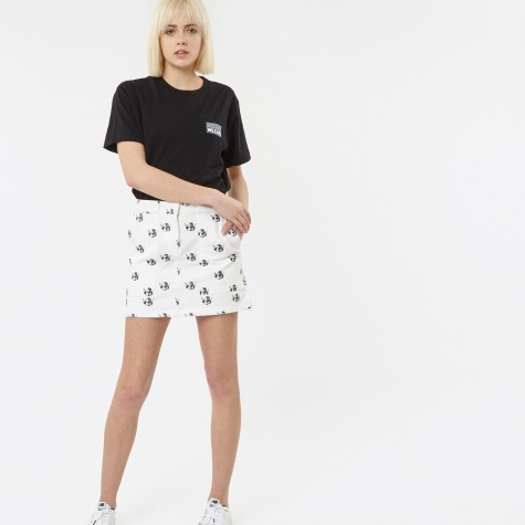 Cherub Denim Skirt - White/Black