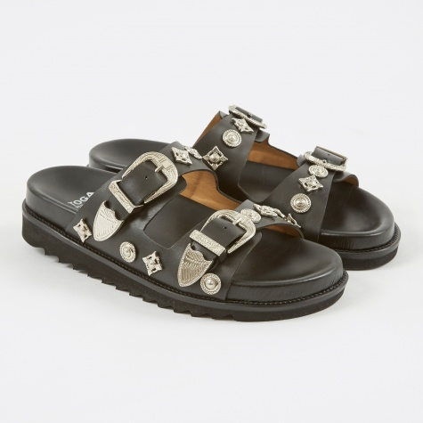 Stud Sandal - Black Leather