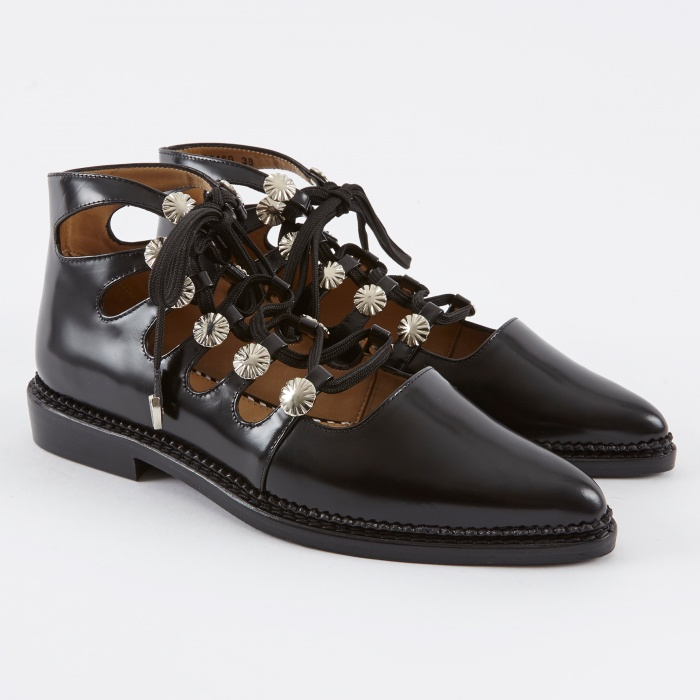 Toga Pulla Lace Up Boot - Black Polido (Image 1)