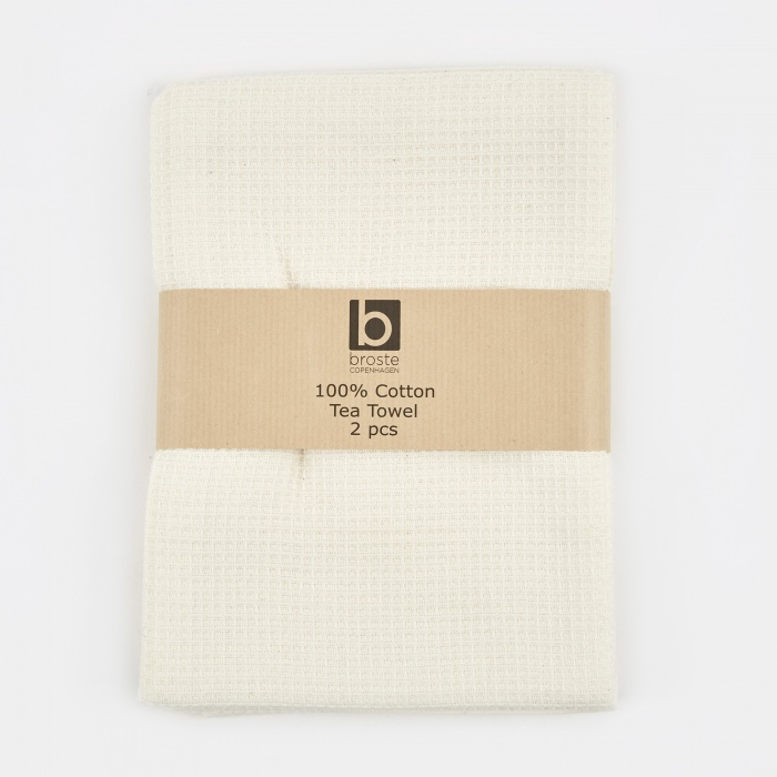 Broste Tea Towel 'Waffle' Cotton - Pure White (Image 1)