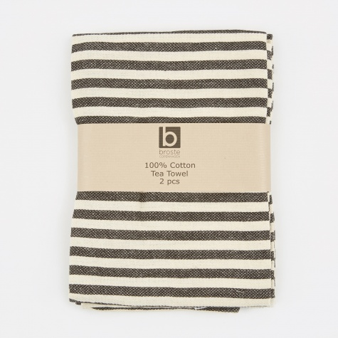 Tea Towel 'Stripe' Cotton - Simply Black