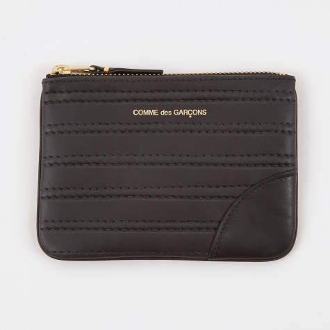 Comme des Garcons Wallet Embossed Stitch XS - Black (SA8100ES)