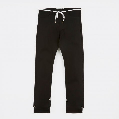 Slit Skinny Denim Trousers - Black