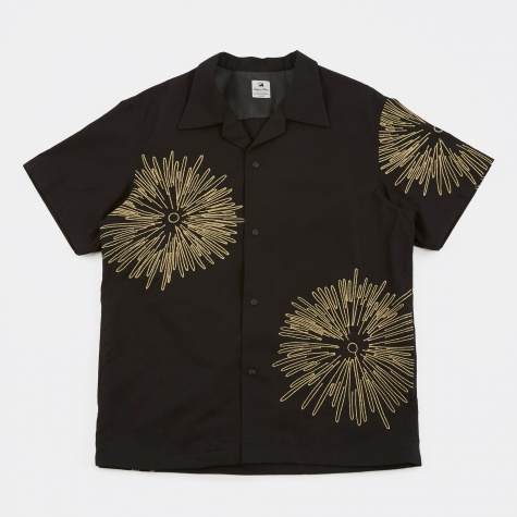 Fireworks Open Collar Shirt - Black/Gold