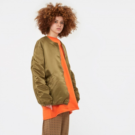Raw Edge Long Bomber Jacket - Khaki