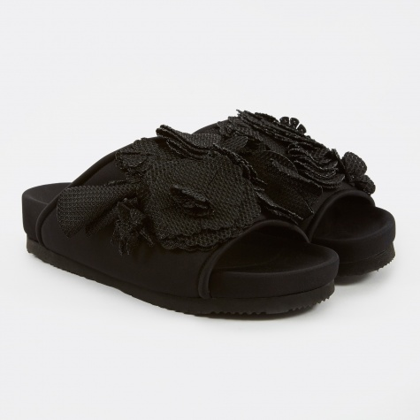 Flower Flat Sandal - Black