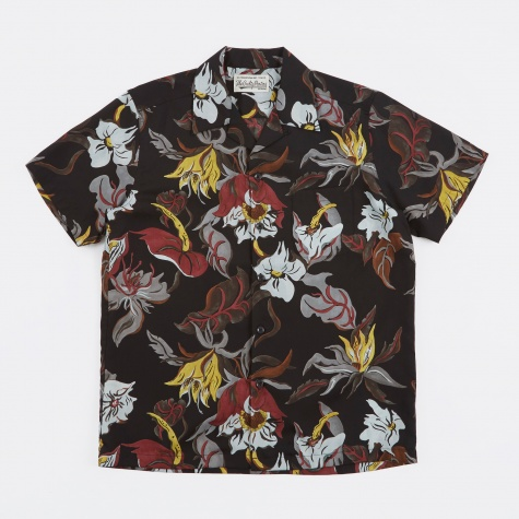 Floral S/S Hawaiian Shirt - Black