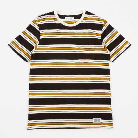 Striped Crew Neck T-Shirt (Type-3) - Black/White/Mus