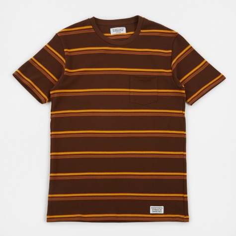 Striped Crew Neck T-Shirt (Type-3) - Brown/Orange