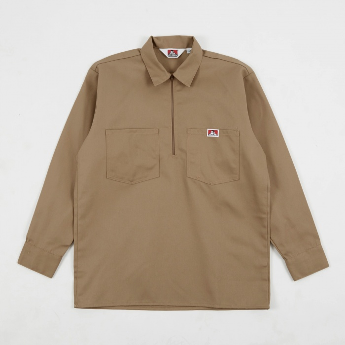 Ben Davis Long Sleeve Half Zip Work Shirt - Khaki (Image 1)