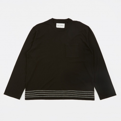 Box Longsleeve T-Shirt - Black Embroidered Stripes