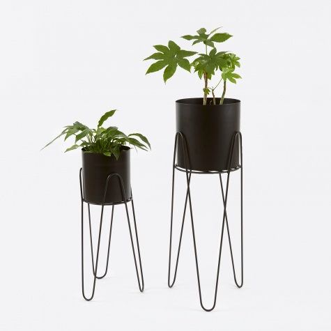 Stand With Flowerpot 'Lisa' Black Iron - Set of 2