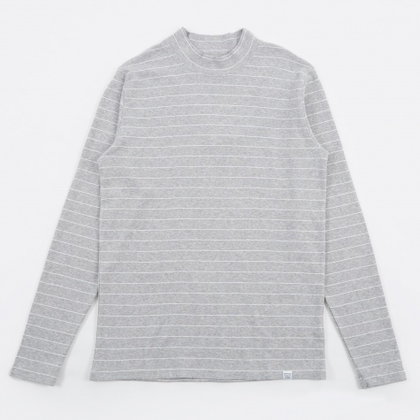 Harald Raised Stripe T-Shirt - Light Grey Melange