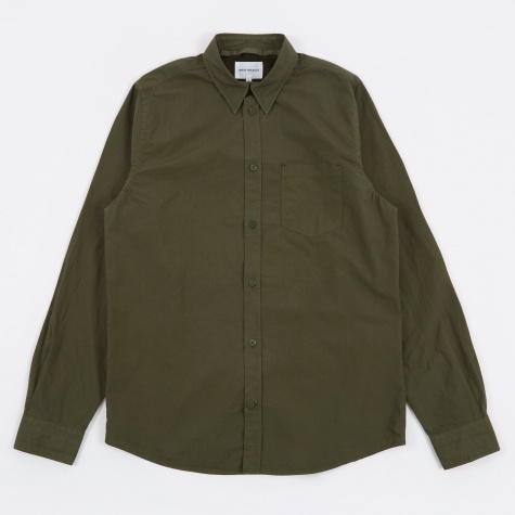 Anton Garment Dyed Poplin Shirt - Forest Green