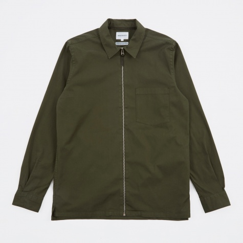 Jens Garment Dyed Twill Shirt - Forest Green