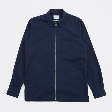 Jens Garment Dyed Twill Shirt - Navy