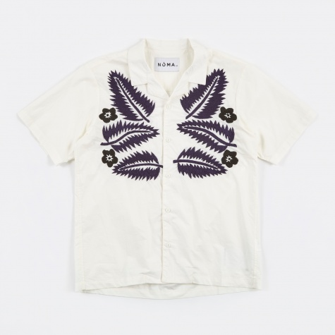 Hand Embroidered Shirt - White/Blue