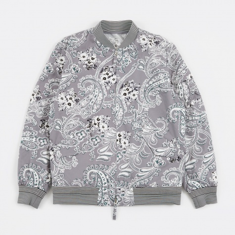 Paisley Bomber Jacket - Grey