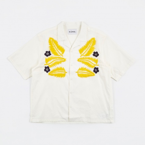 Hand Embroidered Shirt - White/Yellow/Blue