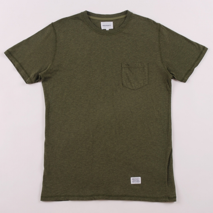 Norse Projects Niels Pocket T Shirt - Army Green (Image 1)