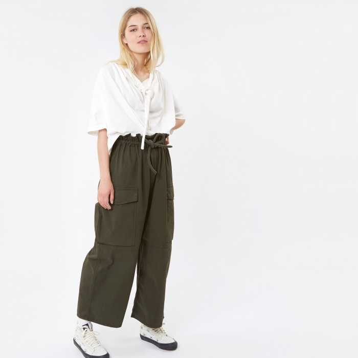 MM6 Maison Margiela MM6 Drawstring Trousers - Military Green (Image 1)