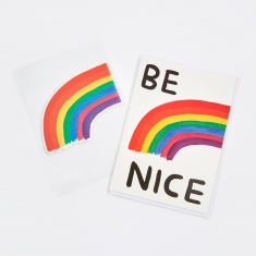 David Shrigley Be Nice Puffy Sticker Card
