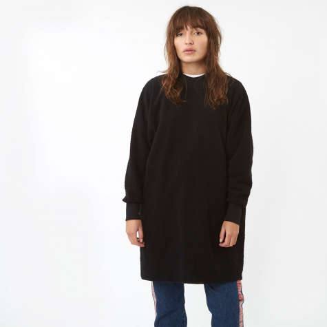 Open Back Sweatshirt Dress - Black