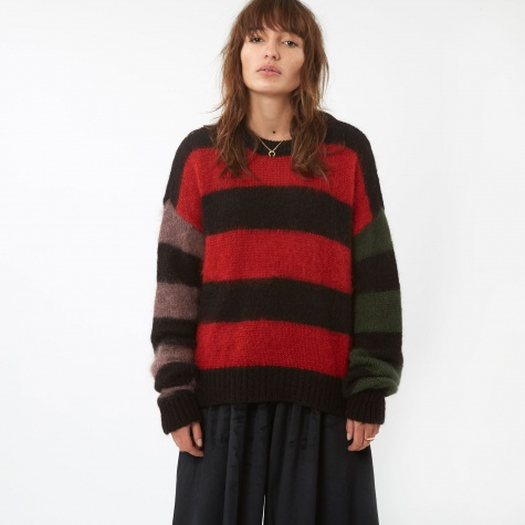 Stripey Cropped Knit Jumper - Multi