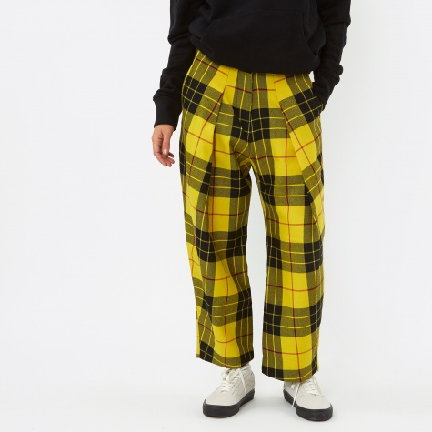 Pleat Front Tartan Trouser - Yellow