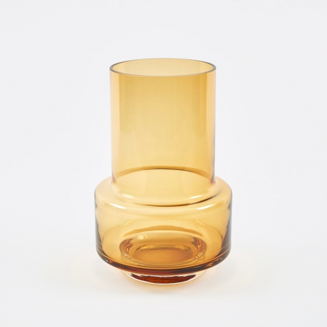 Hurricane Candle Holder & Vase - Amber