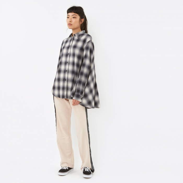 MM6 Maison Margiela MM6 Checkered Cape Shirt - Black Check (Image 1)