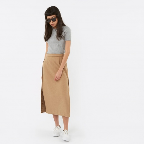 MM6 Felt Wool Skirt - Camel