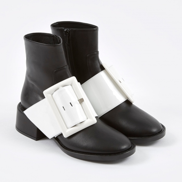 MM6 Maison Margiela MM6 Big Buckle Ankle Boot - Black/White (Image 1)