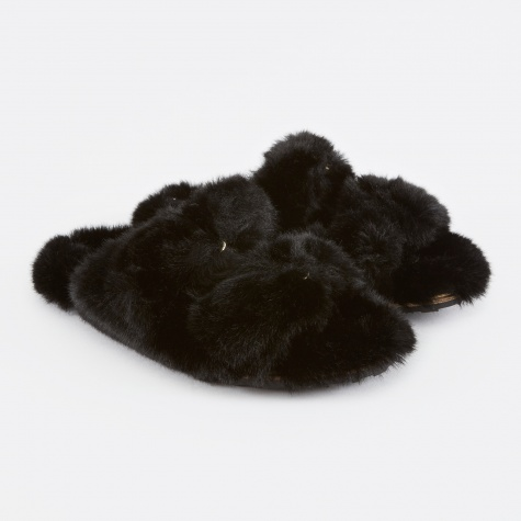 Fur Detailed Flat Sandals - Black