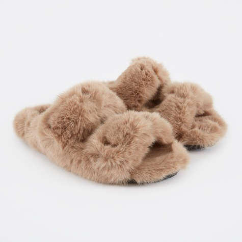 Fur Detailed Flat Sandals - Beige