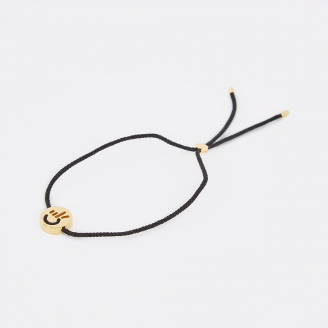 Black Cord Hands Up Peace Bracelet - 18K Yellow Gold Ver
