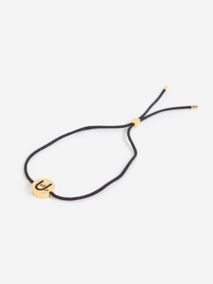Ruifier Black Cord Hands Up Rock On Bracelet - 18K Yellow Gold P (Image 1)