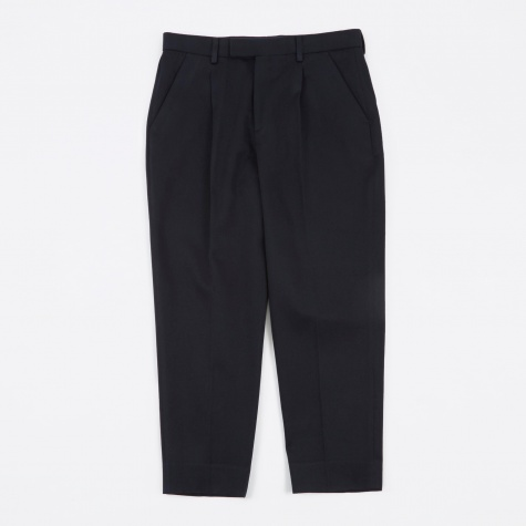 Wide Tailored Trousers - Navy Twill
