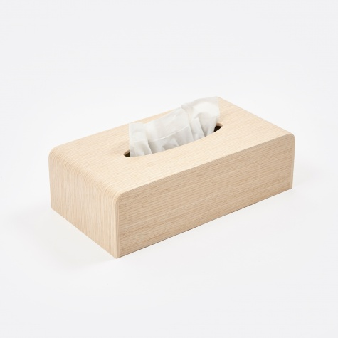 Wooden Tissue Box Cover - White Oak Grain